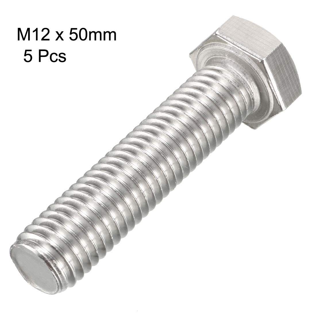 uxcell M12 Thread 50mm 304 Stainless Steel Hex Head Left Hand Screw Bolts Fastener