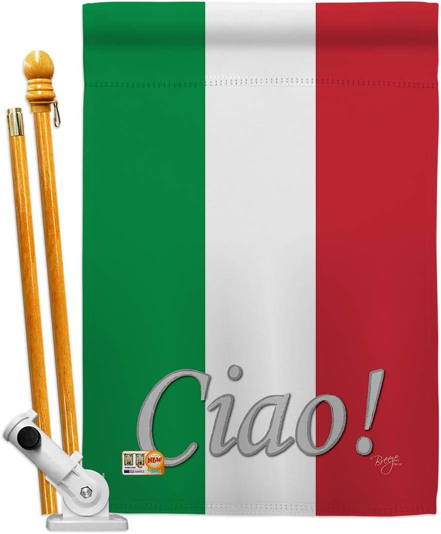 Breeze Decor HS108027-BO Banderas Italianas de la Nacionalidad Mundial Impresiones Decorativas Vertical 28