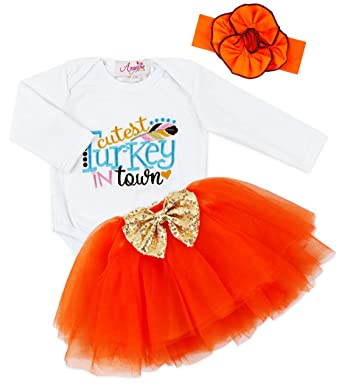 6e262440fe9a Baby Infant Girls Thanksgiving Cutest Turkey in Town Bodysuit Tutu Set 0-3  Months