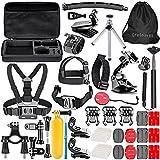 Greleaves 50 in 1 Outdoor Sports Accessories Bundle Kit for Gopro Hero 4 Session,Hero 4 Black,Hero 4 Silver,Hero 4 3+ 3 2 1 Camera Accessory Kit for SJCAM SJ4000 SJ5000 SJ6000