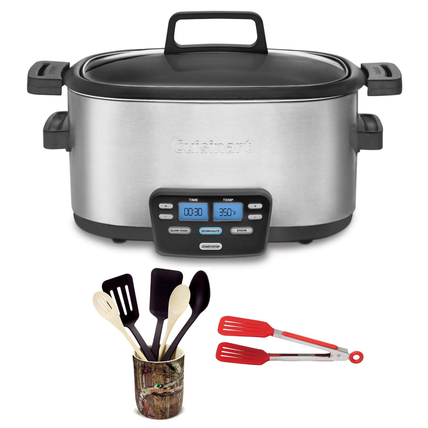 Cuisinart MSC-600 3-In-1 Cook Central 6-Quart Multi-Cooker: Slow Cooker, Brown/Saute, Steamer Includes Flipper Tongs and 6 pc Crock Set (Certified Refurbished)