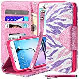 zebra print phone accessories - Galaxy S6 Case, S6 Bling Flip Case, Style4U [Everlasting Shine] Premium Zebra Print PU Leather Stand Wallet Case with ID Credit Card / Cash Slots for Samsung Galaxy S6 + 1 Stylus [Purple Pink Zebra / Hot Pink]