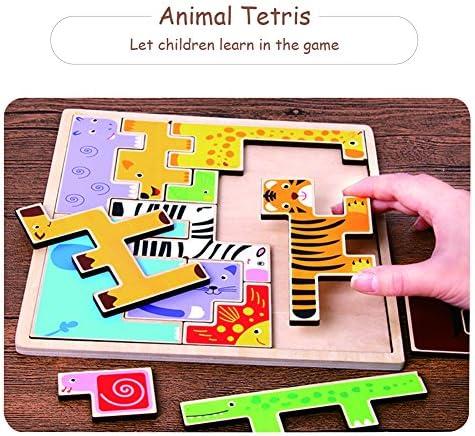 Tetris Puzzle Game,Cartoon Animal Madera Tetris Puzzle Tangram Jigsaw & Building Blocks Kids Educational Toys - Tech para niños 3-7 años de edad educativa de juguete preescolar de dibujos animados juguetes frescos