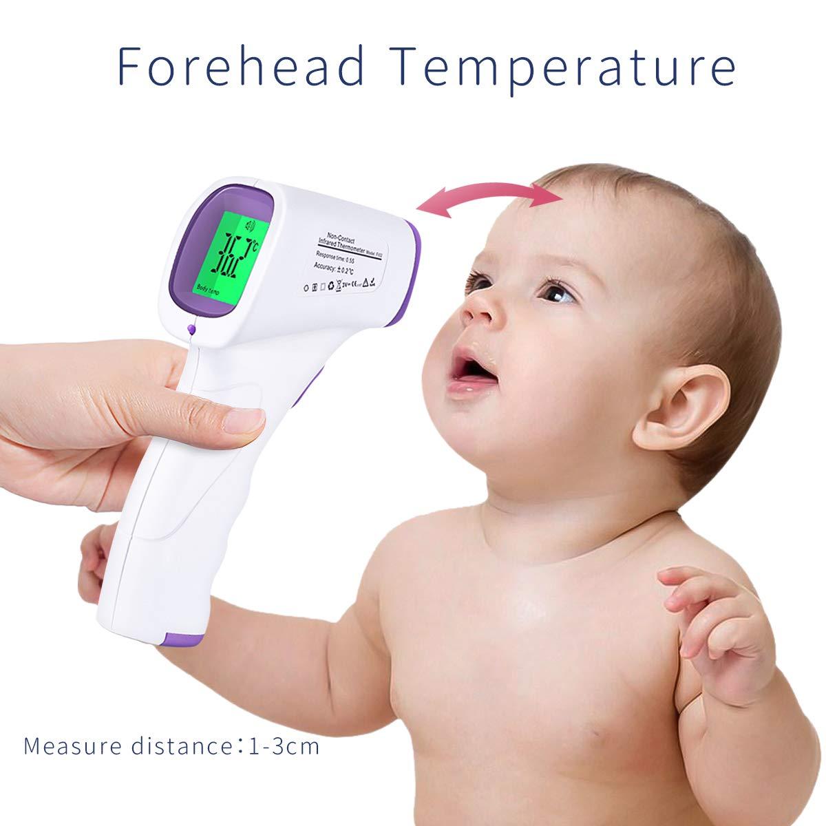 P/úrpura SONARIN Alta Precisi/ón Infrarrojo Term/ómetro de Frente M/édico Digital para beb/és y adultos,Sin Contacto,Objeto medible,Monitoreo Cl/ínico,Lectura instant/ánea,Certificaci/ón CE y FDA