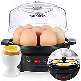 homgeek  Moderno Cocina de Huevos eléctrica, cocedor con Capacidad para 7 Huevos, 250V 50Hz 350W, sin BPA, Negro.