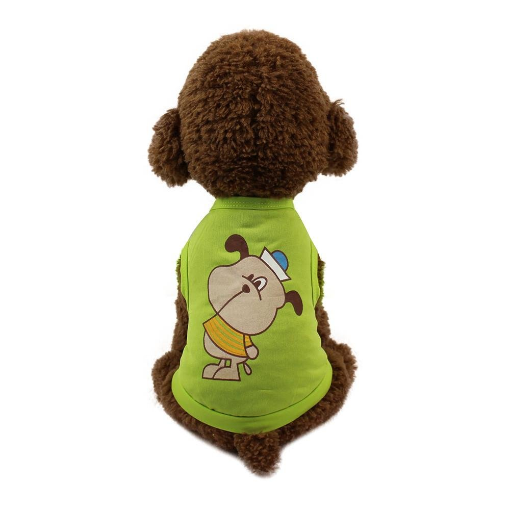 Howstar Pet Shirt, Cute Printed Puppy Vest For Dog Pet Costume (L, Green)