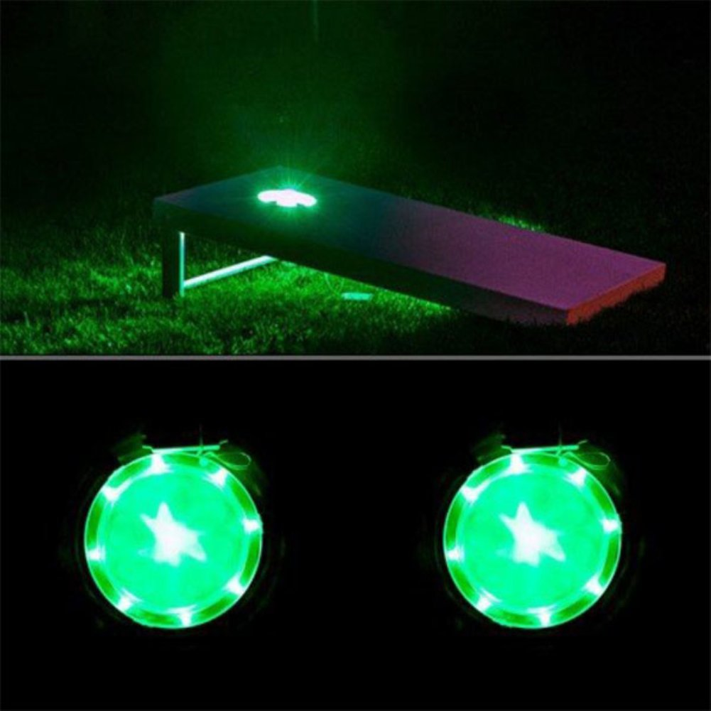 Cornhole LED Board Light Set of 2, 6'' Corn Hole Lamp with Super Bright LED Lights Includes Screws - Easy Mounting in Minutes, Allow You to Play Your Bean Bag Toss Game for Hours After Dark! (Green)