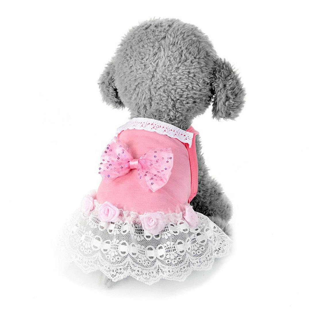 Pocciol Puppy Clothes, Cute Tutu Dress for Small Dog Stripe Princess Dress Bow Lace Skirt (Pink, XS)