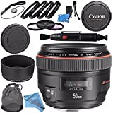 Canon EF 50mm f/1.2L USM Lens 1257B002 + 77mm 3 Piece Filter Kit + 77mm Macro Close Up Kit + Lens Cleaning Kit + Lens Pen Cleaner + Fibercloth Bundle