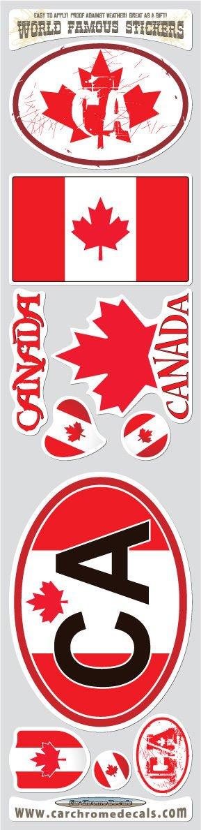 Car Chrome Decals STS-CA Canada 10 stickers set Canadian flag decals bumper stiker car auto bike laptop
