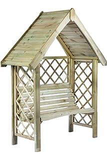 Pérgola de madera enrejado jardín Arbour asiento banco de muebles ...