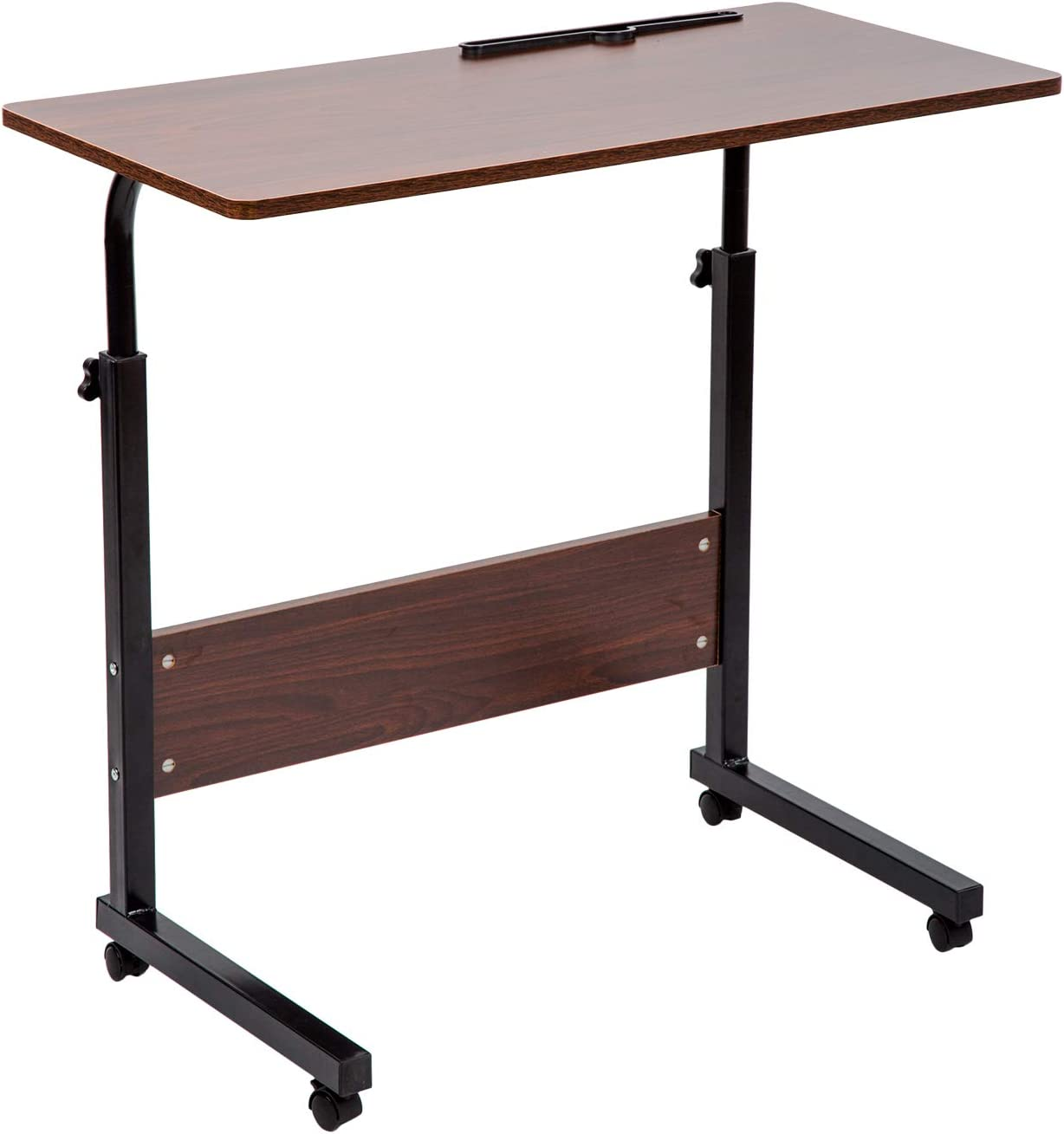 BarleyHome Tray Table, Adjustable Sofa Side Bed Table Portable Desk with Wheels Overbed Table Laptop Cart, Red Walnut, 31.5 x 15.7 in Desktop