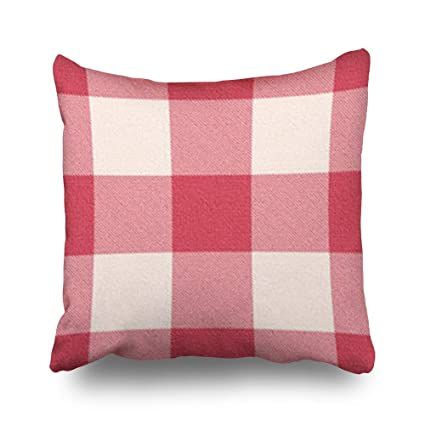 Amazon.com: Decor Champ Throw Pillow Covers Design Red Gingham ...
