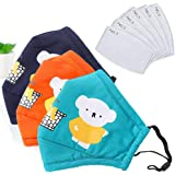 Face Breathable 3 types colour Madks for with 6 Replacement Filters Panda Cartoon Design Washable Cotton Cloth for Kids…
