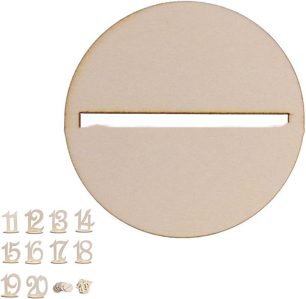 LQZ TM Marque Place en Bois 10cm Num/éro de Table 1-20 D/écoration pour F/ête dAnniversaire Mariage 1-10