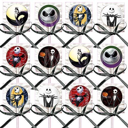 Jack Skellington Lollipops Party Favors Decorations Movie Lollipops w/ Black Ribbon Bows Party Favors -12, Nightmare Before Christmas, Halloween, -
