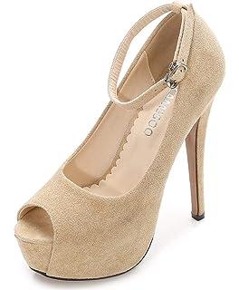 d5f6b03cf420 CAMSSOO Women s Peep Toe Heels Platform Ankle Strap Stiletto High Heels  Dress Shoes