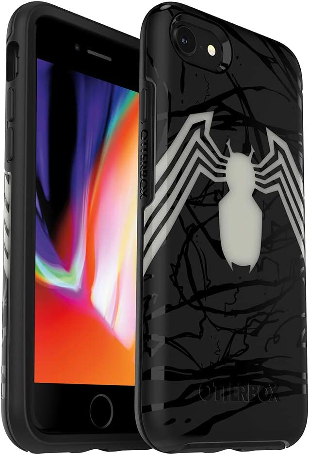 OtterBox Symmetry Series Disney Spider-Man and Venom Case for iPhone SE (2nd gen - 2020) and iPhone 8/7 (NOT Plus) - Retail Packaging - Venom (Translucent Glow/Black/Venom Graphic)