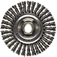 """Weiler 13131 ROUGHNECK MAX 4"""" Stringer Bead Wire Wheel, .020"""" Steel Fill, 5/8""""-11 UNC Nut, Made in USA"""