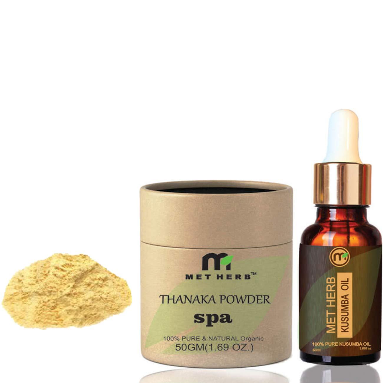 Pure & Natural Thanaka powder 50g & Kusumba oil 50ml for permanent hair removal Eco-Friendly Packing …