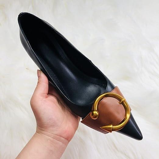 Zapatos De Primavera Cuero Mujeres Las Alto Hebilla Tacón wwTPpnx