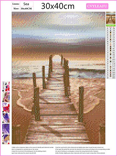 5D Diamond Art Kits for Adults, Full Drill Beach Sunset Diamond Painting Rhinestone Embroidery Pictures Cross Stitch Arts Crafts for Living Room Home Wall Decor