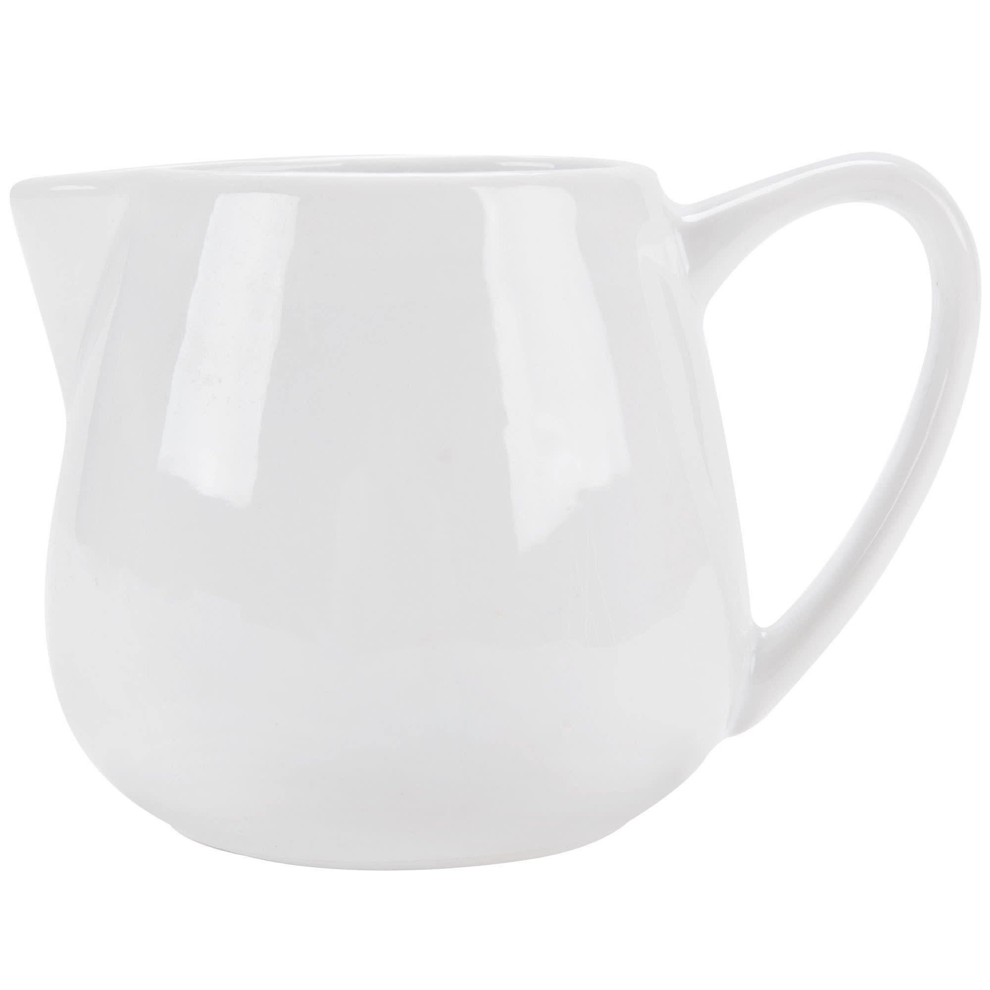 Tabletop King PC-406 Bright White Porcelain 6 oz. Creamer with Handle - 36/Case