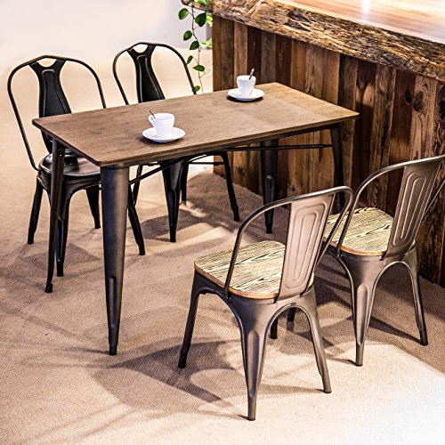 metal and wood dining table - 4
