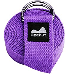 Reehut Fitness Exercise Yoga Strap (6ft) w/ Adjustable D-Ring Buckle for Stretching, Flexibility and Physical Therapy (Purple )