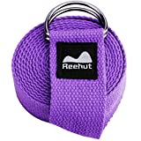 REEHUT Yoga Strap (6ft) - Durable Cotton Exercise Straps w/Adjustable D-Ring Buckle for Stretching, General Fitness, Flexibility and Physical Therapy(Purple)