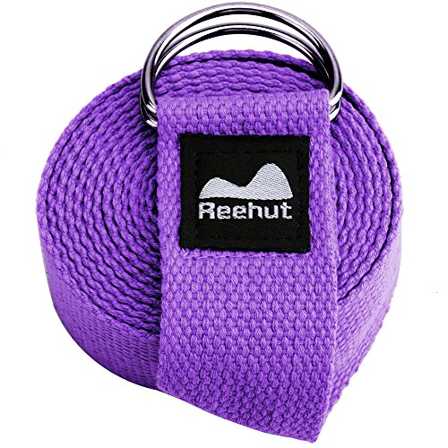 Reehut Fitness Exercise Yoga Strap (8ft) w/ Adjustable D-Ring Buckle for Stretching, Flexibility and Physical Therapy (Purple) (Double End Boat)