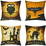 HIPPIH 4 Packs Happy Halloween Square Pillowcases 18 X 18 Inch Hallowmas Decorative Throw Pillow Cover, 1x Cat + 1x Bat + 1x Owl + 1x Castle