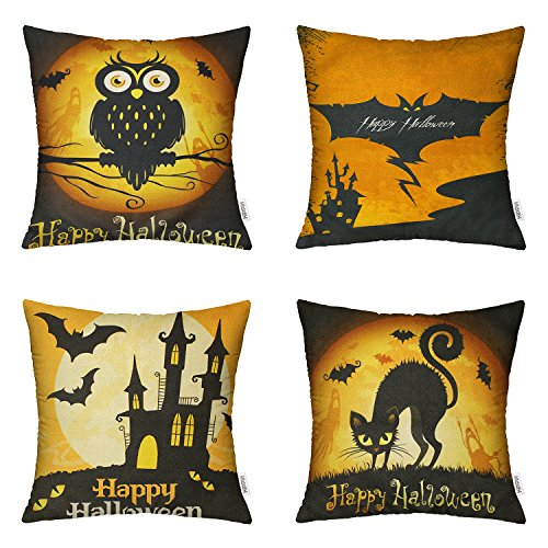HIPPIH 4 Packs Happy Halloween Square Pillowcases 18 X 18 Inch Hallowmas Decorative Throw Pillow Cover, 1x Cat + 1x Bat + 1x Owl + 1x Castle -