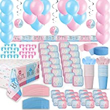 Gender Reveal Party Supplies for 24 - Two Size Plates + Cups + Napkins + Cutlery + Tablecloths + Stickers + Balloons + Banner + Hanging Decorations + Streamers - Baby Shower Supply + Decorations Set