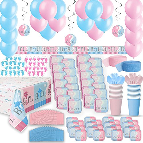 Gender Reveal Party Supplies for 24 - Two Size Plates + Cups + Napkins + Cutlery + Tablecloths + Stickers + Balloons + Banner + Hanging Decorations + Streamers - Baby Shower Supply + Decorations Set ()