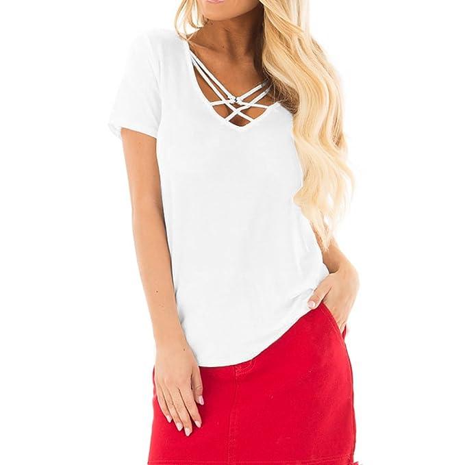 Camiseta Mujer,riou Ajustado Blusa Moda Patchwork Casual ...