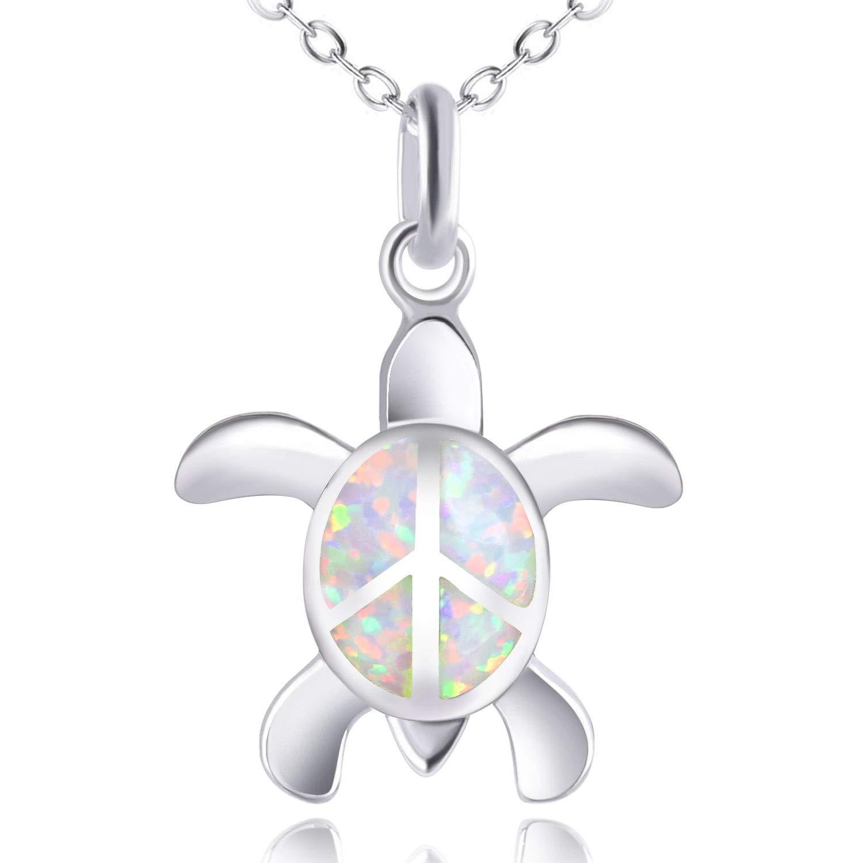 KELITCH Peace Sea Turtle Choker Necklaces Longevity Created Opal Pendant Necklaces Birthstone Jewelry (White)