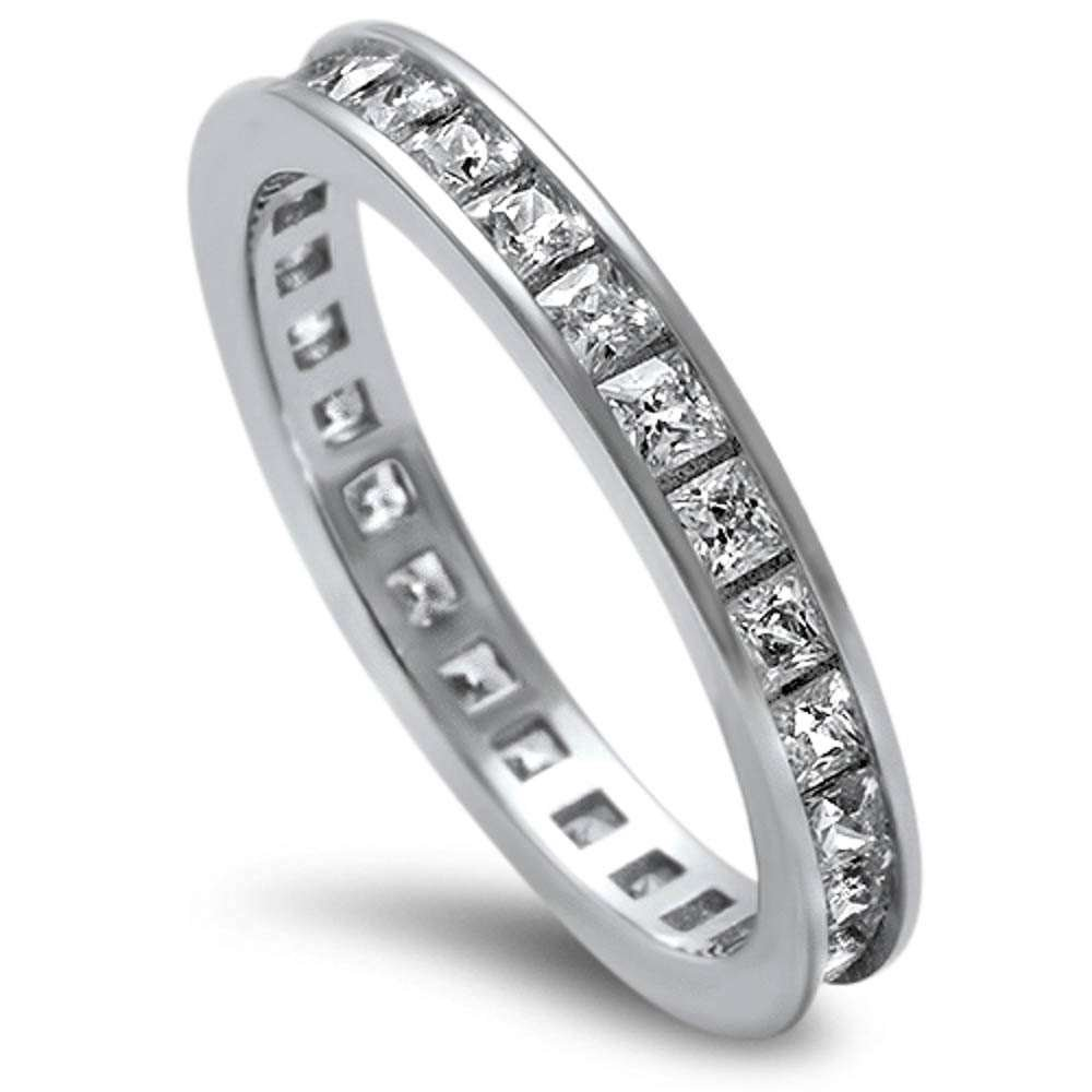 Princess Cut Cubic Zirconia .925 Sterling Silver Eternity Band Size 9