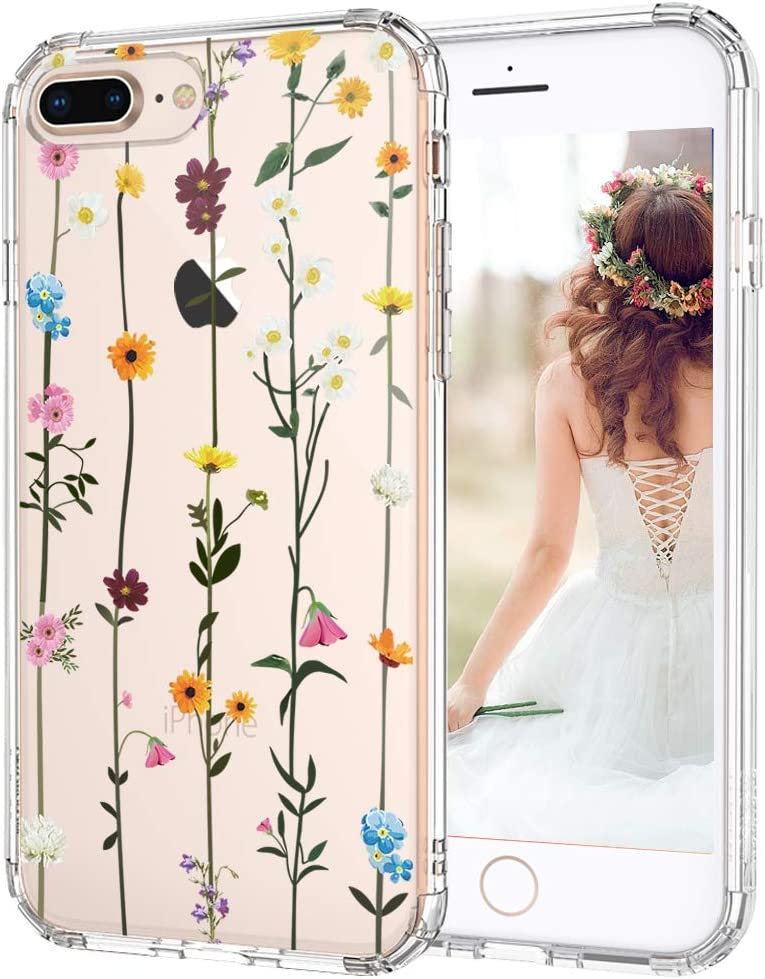 for iPhone 8 Plus Case, MOSNOVO Crystal Clear Slim Soft TPU PC Shockproof Protective Phone Cover with Wildflower Floral Flower Design Case for ...