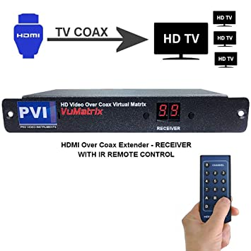 HDMI Extender Over Coaxial Cable With Remote Control - VUMATRIX COAX RECEIVER - Distribute All Your