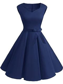 c08b4596a86 DIDK Damen Vintage 50er Swing Kleider Rockabilly Retro Cocktailkleid  Ärmellos Elegant Kleid mit Gürtel
