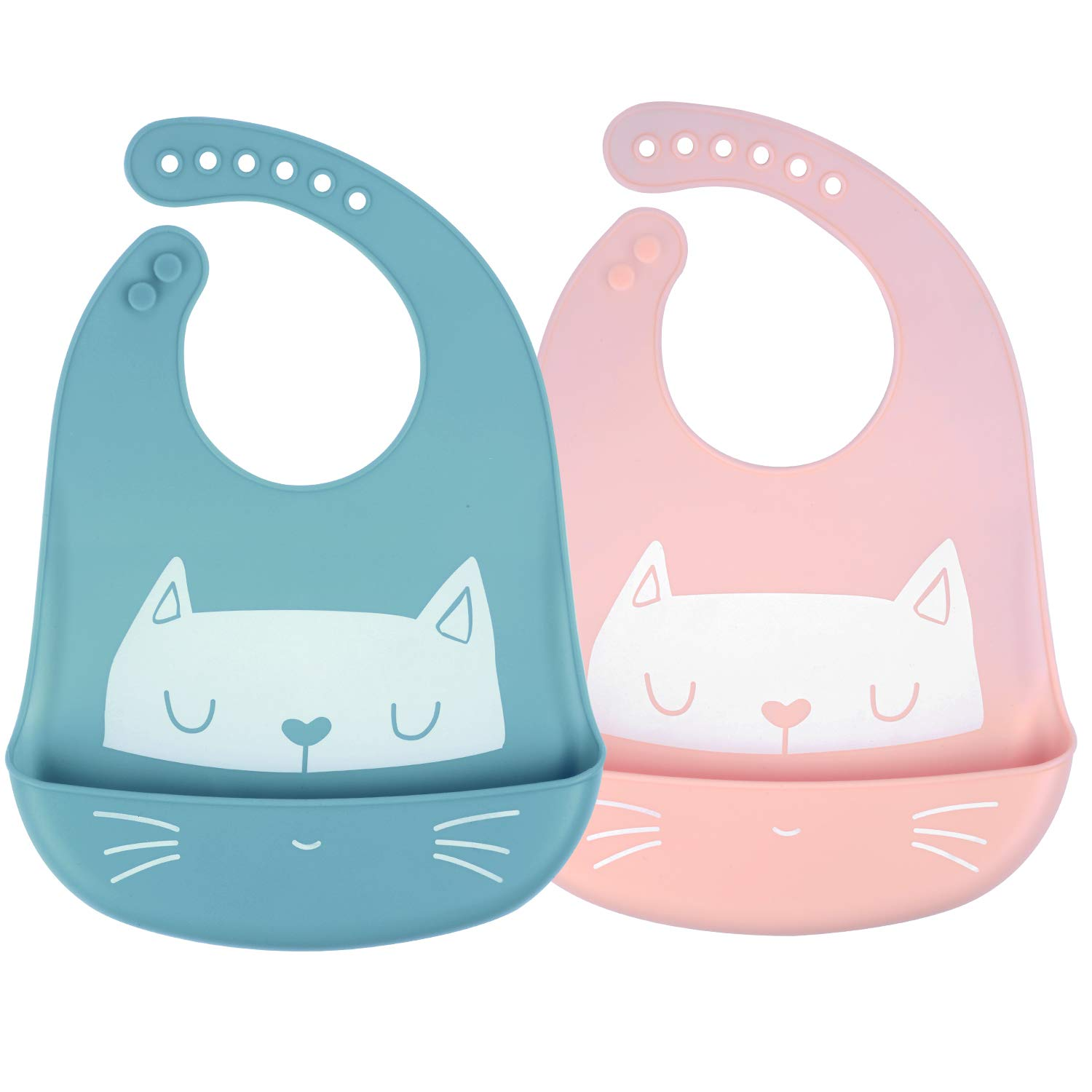 LOVK Silicone Bibs, 2 Pack Baby Bibs for Girl Boy, Adjustable Waterproof Bibs Washable Stain Feeding Bibs with Food Catcher for Babies