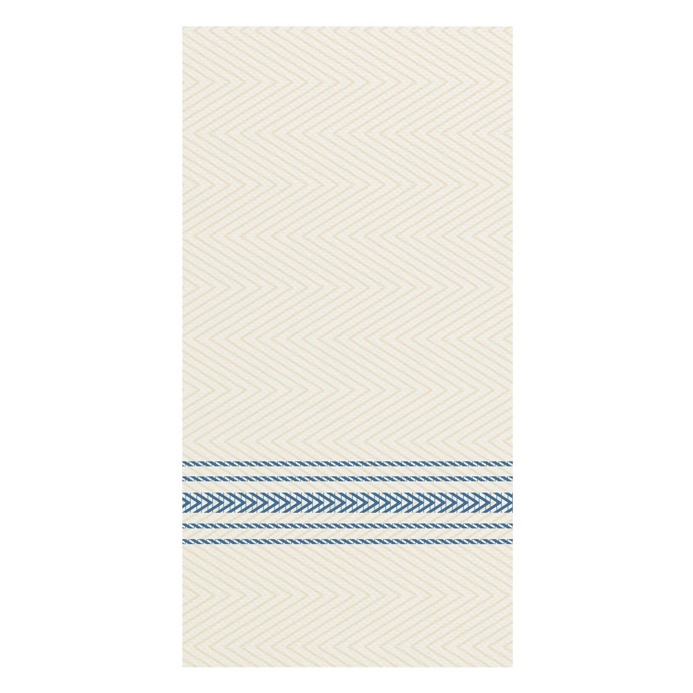 Hoffmaster FP1111 FashnPoint Blue and White Dishtowel Printed Dinner Napkin, Ultra Ply, 15 1/2'' x 15 1/2'', 1/8 Fold (8 Packs of 100), Whte / Blue