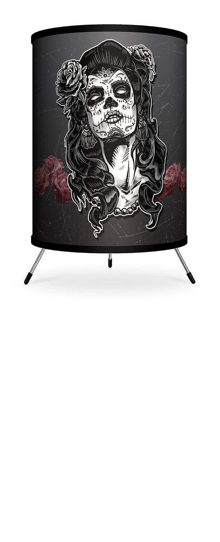 Lamp-In-A-Box TRI-VAR-SKWOM Various-Woman Skull Tattoo Tripod Lamp, 7'' x 7'' x 12''