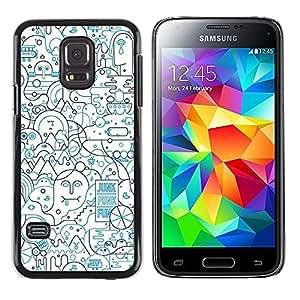 iKiki Tech / Estuche rígido - Lines Abstract Art Pen Shape Busy - Samsung Galaxy S5 Mini, SM-G800, NOT S5 REGULAR!