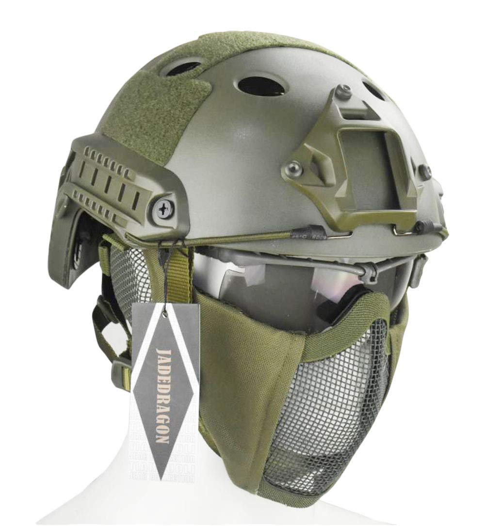 Jadedragon PJ Tactical Fast Helmet & Protect Ear Foldable Double Straps Half Face Mesh Mask & Goggle(Green) by Jadedragon