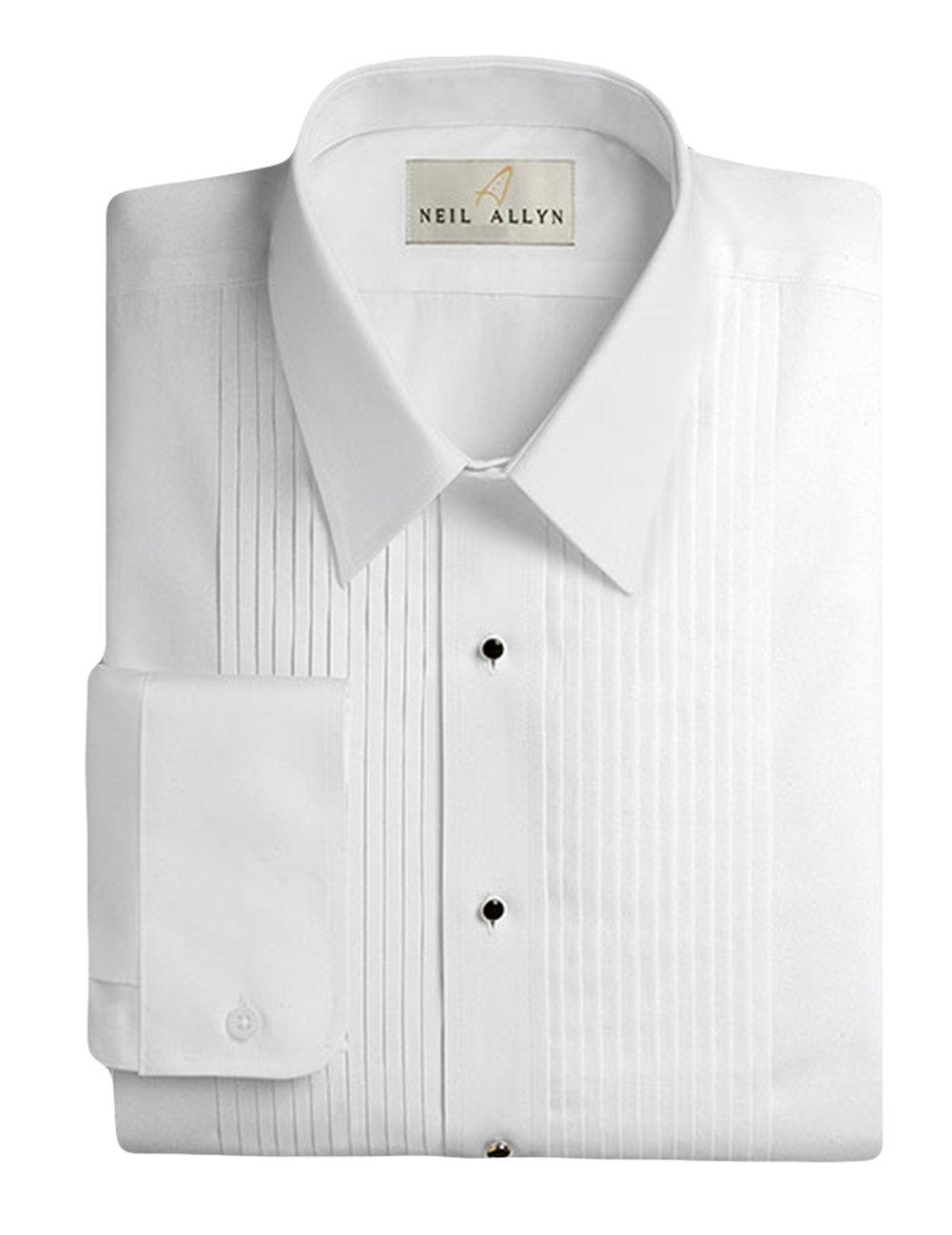 Neil Allyn Men's Tuxedo Shirt 100% Cotton 1/4'' Pleat Laydown Collar, 17.5 (36/37) by Neil Allyn