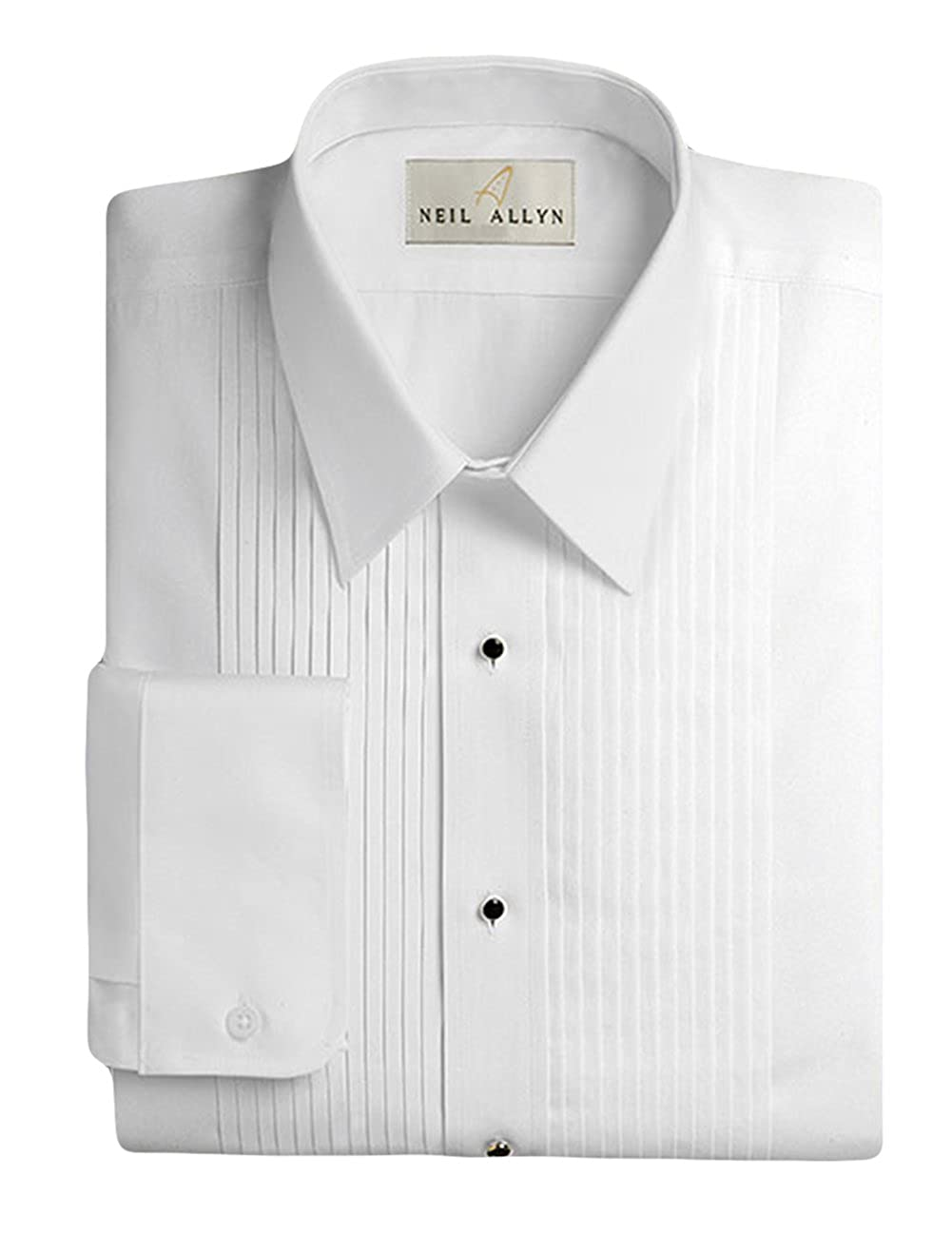 "Neil Allyn Men's Tuxedo Shirt 100% Cotton 1/4"" Pleat Laydown Collar"