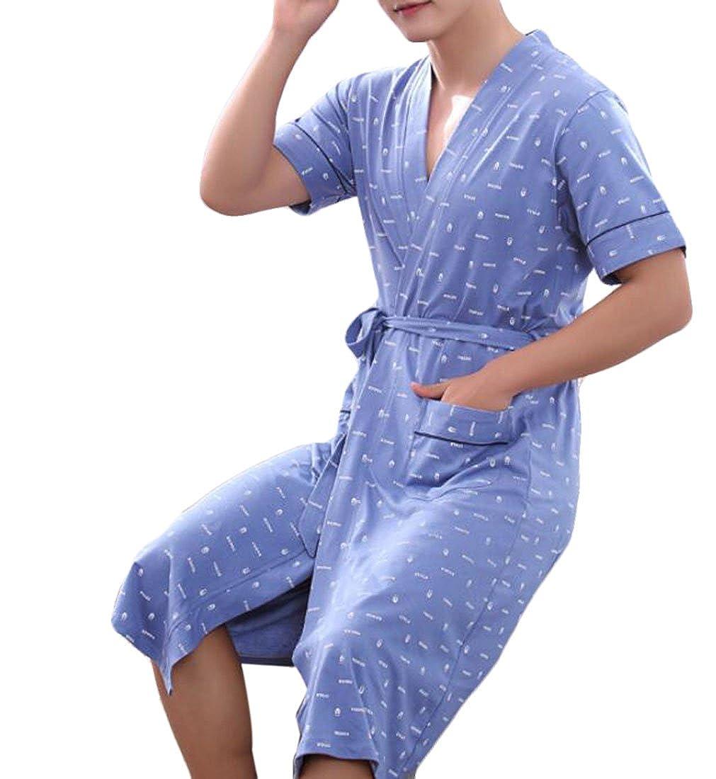 Nanquan Men Cotton Nightgown Bathrobe Kimono Robe Soft Bathrobe Sleepwear