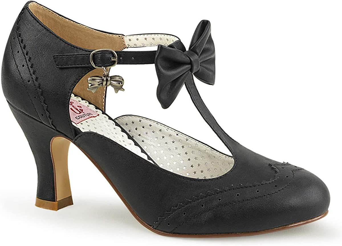 Pin Up Couture Flapper-11, Zapatos con Tacon y Tira Vertical para Mujer